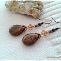 Cairo collar  fülbevaló, Ékszer, Fülbevaló, Cseh préselt üveggyöngyből és 6 mm-s Swarovski kristályból készítettem a fülvevalót.  Hossza: a fülb..., Meska