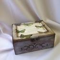 Teafilter tartó/tároló fa doboz, Otthon, lakberendezés, Tárolóeszköz, Doboz, Teafilterek vagy apró kincsek tárolására használható fa doboz pillangó motívummal.  Eredetil..., Meska