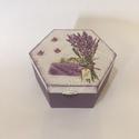 Hatszögletű doboz levendulás mintával, Otthon, lakberendezés, Tárolóeszköz, Doboz, Egyszerű, egyfázisú repesztéssel készült doboz. , Meska