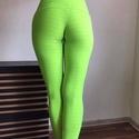 Magas derekú elasztikus leggings, Baba-mama-gyerek, Ruha, divat, cipő, Női ruha, Nadrág, Varrás, Uv zöld, mintás elasztikus magas derekú nadrág. Kényelmes,nagyon elasztikus. S / M kicsi L 80 % pol..., Meska