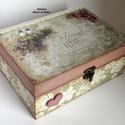 Madárkás ékszerdoboz vagy teafiltertartó doboz (50), Ékszer, óra, Konyhafelszerelés, Otthon, lakberendezés, Ékszertartó, Decoupage, szalvétatechnika, Festett tárgyak, Egy elbűvölően szép vintage ékszerdobozt/teafiltertartó dobozt készítettem dekupázs technikával és ..., Meska