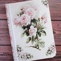Rózsás napló vagy esküvői vendégkönyv (62), Esküvő, Naptár, képeslap, album, Jegyzetfüzet, napló, Decoupage, transzfer és szalvétatechnika, Festett tárgyak, Egy gyönyörű, romantikus, rózsás naplót/esküvői vendégkönyvet készítettem. Megjelennek rajta a fehé..., Meska