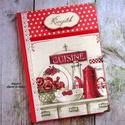 Piros virágos vintage konyha receptkönyv - RENDELHETŐ, A képen látható szépséges receptkönyv már e...
