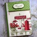 Virágos vintage konyha zöldben receptkönyv - RENDELHETŐ, A képen látható szépséges receptkönyv már e...