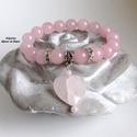 Romantikus álmodozás kollekció (7), ásvány karkötő, Esküvő, Ékszer, Szerelmeseknek, Karkötő, Ezt a gyönyörű karkötőt halvány rózsaszín rózsakvarc ásványgyöngyökből készítettem, gumis damil alap..., Meska