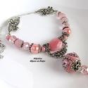 Különleges megjelenés kollekció (7), ásvány- és porcelángyöngy nyaklánc indonéz gyönggyel, Ékszer, Ékszerszett, Nyaklánc, Különleges, mutatós, finom pasztell rózsaszín árnyalatokban tündöklő nyaklánc. Középen e..., Meska