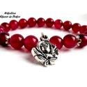 Romantikus álmodozás kollekció 2.-ásvány karkötő, Ékszer, Karkötő, Ciklámen rózsám  Ezt a gyönyörűséges karkötőt mély ciklámen színű rózsa achát ásván..., Meska