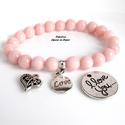 Valentin napi rózsaszín jáde ásványkarkötő választható medállal, ajándék organza dísztasakkal, Ékszer, Szerelmeseknek, Karkötő, Gyönyörű Valentin napi ásványkarkötő, melyet finom, romantikus halvány pasztell rózsaszín jáde ásván..., Meska
