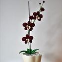 Bordó Horgolt Orchidea, Dekoráció, Otthon, lakberendezés, Horgolás, Örök Orchidea. Soha el nem hervadó, horgolt gyönyörűség. Igazi dísze lehet a lakásnak. Kérésre bárm..., Meska