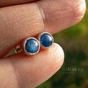 Blue dots, Ékszer, Fülbevaló, Kis, univerzális, bedugós, ezüst fülbevaló kék kianittal. A kövek nagyon jó minőségűek, tiszta, inte..., Meska