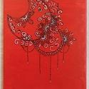 Piros hold mandala, Otthon & lakás, Dekoráció, Kép, Festett tárgyak, Festészet, A piros hold mandala színeit, az ezer egy éjszaka meséje ihlette...  A mandala mintáját akril festé..., Meska