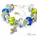 Nyári zápor - Pandora stílusú karkötő, Ékszer, óra, Karkötő, Gyöngyfűzés, Ékszerkészítés, A nyári záporokban is van valami jó! :) Ezt hirdeti ez a színes Pandora stílusú karkötő is.  A kark..., Meska