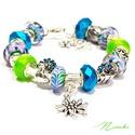 Csicsergés - Pandora stílusú karkötő, Ékszer, óra, Karkötő, A csodálatosan szép páva ihlette ezt a Pandora stílusú karkötőt, mind színeiben, mind a stra..., Meska