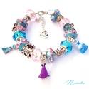 Disney hercegnők - Pandora stílusú karkötő, Ékszer, óra, Karkötő, Pandora stílusú karkötő kis és nagy hercegnőknek! :) A karkötőn megtalálható Jázmin, Aran..., Meska