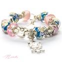 Baba-Mama - Pandora stílusú rózsaszín karkötő, Ékszer, óra, Karkötő, Gyöngyfűzés, Ékszerkészítés, Kislányos babaváró Pandora stílusú karkötő kismamáknak!  A karkötő alkotó elemei: Pandora stílusú l..., Meska