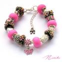 Szirom - Pandora stílusú rózsaszín karkötő, Ékszer, óra, Karkötő, Gyöngyfűzés, Ékszerkészítés, Pandora stílusú karkötő rózsaszín és fekete színben, virágszirmokkal.  A karkötő alkotó elemei: Pan..., Meska