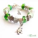 Ezüst fenyő - Pandora stílusú karkötő, Ékszer, óra, Karkötő, Gyöngyfűzés, Ékszerkészítés, Pandora stílusú karkötő ezüst és zöld színekben.  A karkötő alkotó elemei: Pandora stílusú üveggyön..., Meska