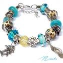 Tengerpart - Pandora stílusú karkötő, Ékszer, Karkötő, Türkizkék és homok színű üveggyöngyökből, tengerparti nyaralást idéző ezüst színű fé..., Meska