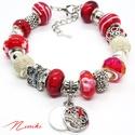Piros pillangós... - Pandora stílusú karkötő, Ékszer, Karkötő, Különböző mintás és sima piros üveggyöngyökből, fehér fém hálós gyöngyökből, valami..., Meska
