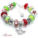 Eper! - Pandora stílusú karkötő, Ékszer, Karkötő, Piros és zöld színű mintás üveggyöngyökből,  eper, virág, katica és szív alakú ezüst s..., Meska