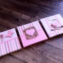 Rózsaszín-beige falikép kollekció babaszobába, gyerekszobába, Baba-mama-gyerek, Dekoráció, Gyerekszoba, Baba falikép, Ajtódísz, kopogtató, Mindenmás, Rózsaszín-beige vidám lányos falikép kollekciót, babaszoba dekorációt készítettünk.  A képen láthat..., Meska