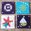 TENGERÉSZ piros-kék-türkiz falikép kollekció babaszobába, gyerekszobába, Gyerek & játék, Otthon & lakás, Gyerekszoba, Baba falikép, Dekoráció, Piros-kék színvilágú, tengerészes vidám falikép kollekciót, babaszoba dekorációt készítettünk.  A ké..., Meska
