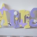 Egyedi név felirat egyben- 4 betűs név esetén, Dekoráció, Baba-mama-gyerek, Gyerekszoba, Festett tárgyak, Mindenmás, Egyedileg díszített polisztirol habbetűket készítünk igény szerinti színvilág, egyéni/egyedi stílus..., Meska