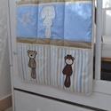 ZSEBES TÁROLÓ (textil) - Mackós (744.), Baba-mama-gyerek, Gyerekszoba, Tárolóeszköz - gyerekszobába, Varrás, Egyedi, különféle vidám, színes textilekből készített, applikációkkal ellátott zsebes textil tároló..., Meska