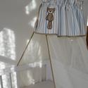 BALDACHIN - Csíkos/ mackós (648.), Baba-mama-gyerek, Baba-mama kellék, Gyerekszoba, Baldachin felépítése: -anyaga: volie -sátortető, masni anyaga: 100 % pamut  Baldachin mérete..., Meska