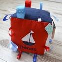 BABAKOCKA (nagy méretben) - hajó applikációval (765.), Játék, Baba játék, Készségfejlesztő játék, Vidám, színes textilekből, natúr fakarikából, fagolyókból, és címkékből készségfejlesztő játékot, ba..., Meska