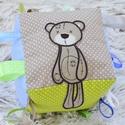 Óriás BABAKOCKA, Játék, Baba játék, Készségfejlesztő játék, Vidám, színes textilekből, natúr fakarikából, fagolyókból, és címkékből készségfejlesztő játékokat, ..., Meska