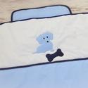 Kutyusos ágynemű - takaró+párna, Baba-mama-gyerek, Gyerekszoba, Falvédő, takaró, Festett tárgyak, Mindenmás, Egyedi, különféle vidám, színes textilekből készített, applikációkkal ellátott baba- gyerektakaró é..., Meska