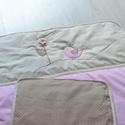 Ágynemű szett - takaró+párna - madárka, Baba-mama-gyerek, Otthon, lakberendezés, Gyerekszoba, Lakástextil, Aranyos állatos applikációval ellátott, beige-rózsaszín babatakarót, gyerektakarót készítettünk.   A..., Meska