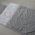 Ágynemű -takaró+párna-szürke-rózsaszín-ALÍZ style, Baba-mama-gyerek, Gyerekszoba, Falvédő, takaró, Egyedi, különféle vidám, színes textilekből készített, applikációkkal ellátott baba- gyer..., Meska