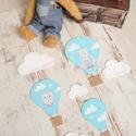 Vidám mintás hőlégballon kollekció babaszobába, gyerekszobába, Baba-mama-gyerek, Dekoráció, Gyerekszoba, Baba falikép, Mindenmás, Kék fehér vidám fiús hőlégballon kollekciót, babaszoba dekorációt készítettünk.    A képen látható ..., Meska