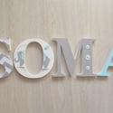 BETŰK, BABABETŰK - Soma style - 4 betűs név, Dekoráció, Baba-mama-gyerek, Gyerekszoba, Festett tárgyak, Mindenmás, Egyedileg díszített polisztirol habbetűket készítünk igény szerinti színvilág, egyéni/egyedi stílus..., Meska