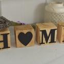 HOME  KOCKÁK!!!!!!, Dekoráció, Dísz, Trendi fakockákat készítettünk nektek HOME  felirattal! A kockák méretei:9*8cm   , Meska