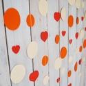 Papír girland - narancssárga, bézs, piros szivekkel, Dekoráció, A babaszoba egyik fala üres?  vagy... hiányzik valamilyen színes fali dísz a szobából? esetleg..., Meska