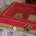 Négyszögletes karácsonyi üveges fadoboz csipkével , Otthon, lakberendezés, Dekoráció, Tárolóeszköz, Doboz, Ez a karácsonyi fadoboz nagyszerű dekoráció lehet az ünnepek és az advent alatt, de ajándékn..., Meska
