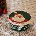Kör alakú karácsonyi dobozka Mikulással, csipkével és különleges hó hatással , Otthon & lakás, Lakberendezés, Tárolóeszköz, Doboz, Dekoráció, Ez a papírmasé karácsonyi dobozka nagyszerű dísze lehet az ünnepeknek és az adventnek, de ajándéknak..., Meska
