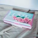 """Rózsaszínű és türkiz színű """"LOVE"""" feliratos dobozka fehér csipkével , Otthon & lakás, Lakberendezés, Tárolóeszköz, Doboz, Szerelmeseknek, Ünnepi dekoráció, Dekoráció, Ez a kis szögletes dobozka a szerelmeseknek készült. A gyöngyházhatás és az ezüstös díszítés ragyogó..., Meska"""
