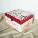 Személyes üzenettel ellátható, négyszögletes fa dobozka rózsaszín és bézs színekben, Otthon & lakás, Lakberendezés, Tárolóeszköz, Doboz, Dekoráció, Ez a fa dobozka tökéletes dekoráció vagy ajándék darab lehet. Alapmotívuma a rózsa, ami visszatér a ..., Meska