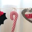 Karácsonyi díszek,füzér filcből, Dekoráció, Ünnepi dekoráció, Karácsonyi, adventi apróságok, Karácsonyi dekoráció, Varrás,    Bájos díszek filcből, karácsonyi hangulatban, csipetnyi szürkével.Krémszínű farkasfogra kötözget..., Meska