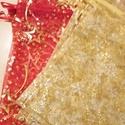 Organza tasakok, Dekoráció, Ünnepi dekoráció, Karácsonyi, adventi apróságok, Ajándékzsák, Varrás, 3 db piros, arany csillagokkal és 6 db arany, arany hópelyhekkel. Organza tasakok, száján mindnek b..., Meska
