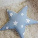 Csillag díszpárna, Baba-mama-gyerek, Dekoráció, Gyereknap, Gyerekszoba, Varrás, Nagyon puha, 45 cm átmérőjű csillag alakú díszpárna.Egyik oldalon halványkék alapon fehér csillagos..., Meska