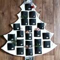 Adventi naptár, fenyő ezüst csillaggal, Dekoráció, Karácsonyi, adventi apróságok, Ünnepi dekoráció, Adventi naptár, Különleges, egyszerű de mégis dekoratív adventi naptár, fenyő alakú. Vajszínű gyapjúszövet alapra va..., Meska