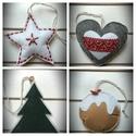 Filc csillag,szív,fenyőfa,süti karácsonyi díszek szettben, Dekoráció, Ünnepi dekoráció, Karácsonyi, adventi apróságok, Karácsonyi dekoráció, Karácsonyi díszeket, dekorációkat készítettem filcből. Ezeket szettben megvásárolhatod, van feltöltv..., Meska