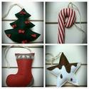 Filc fenyő, cukorpálca,csizma, csokis csillag, karácsonyi díszek szettben, Dekoráció, Ünnepi dekoráció, Karácsonyi, adventi apróságok, Karácsonyi dekoráció, Az ár 4 db-ra vonatkozik.Karácsonyi díszeket, dekorációkat készítettem filcből. Ezeket szettben megv..., Meska
