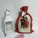 Mikulás zsák, ajándék zsák, Puha, piros filc zsák, pékzsineggel és felirato...