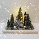 Szarvasos karácsonyi dísz, Otthon & Lakás, Dekoráció, Asztaldísz, Virágkötés, Szarvasos karácsonyi dísz A dísz fal alapra került elhelyezésre, amit termések, kerámia figura dísz..., Meska